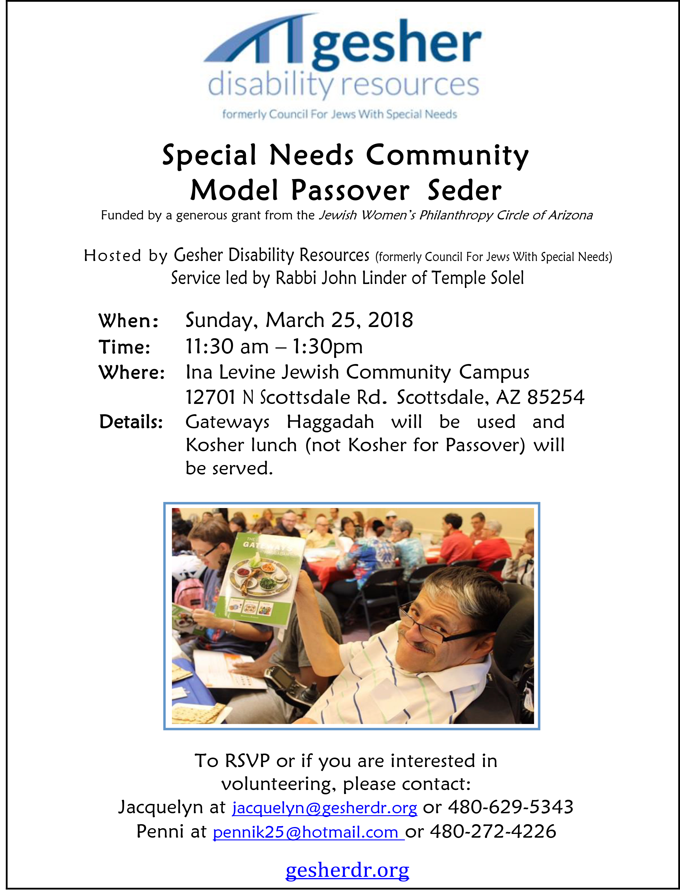 Community Model Passover Seder Gesher Disability Resources